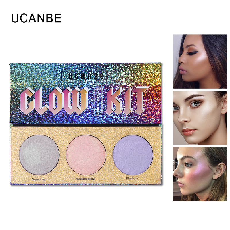UCANBE 3Color Chameleon Makeup Highlighter Palette Shimmer Highlighter Bronzer Glow Cosmetic