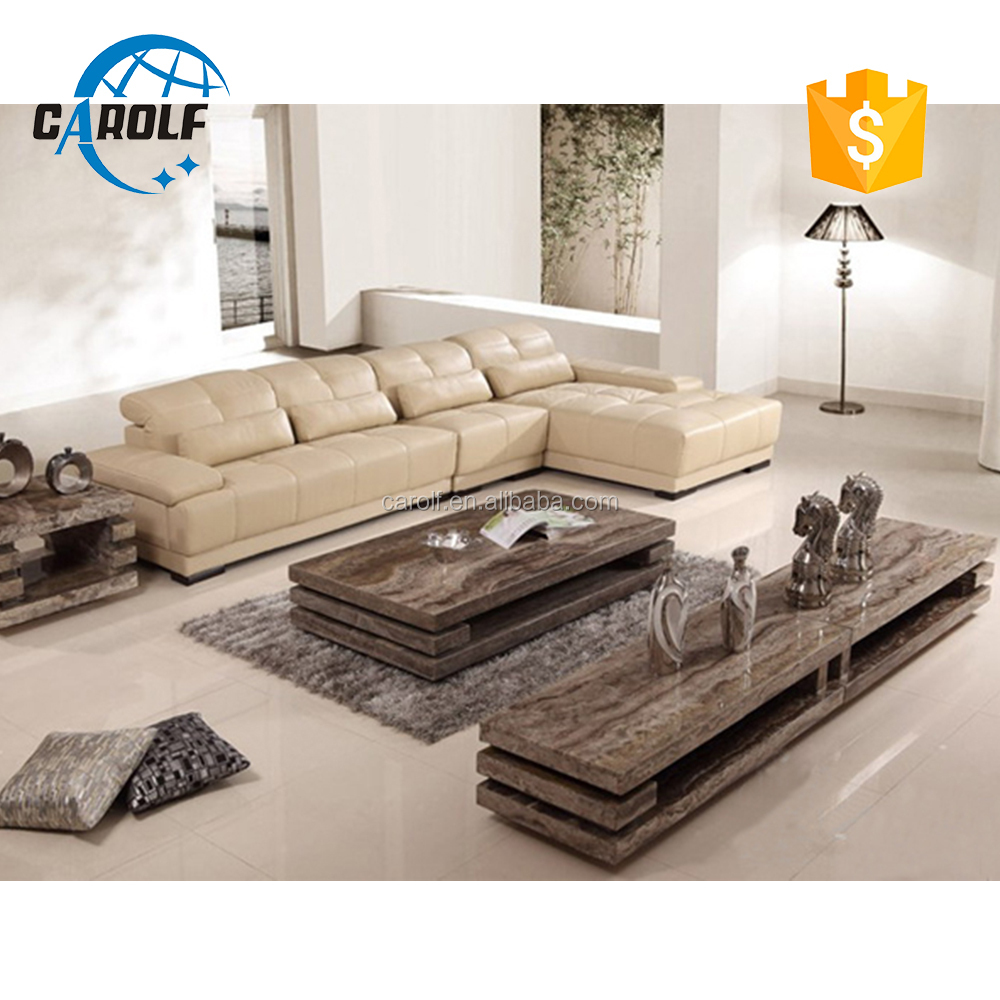 China good modern living room travertine marble tv stand and coffee table