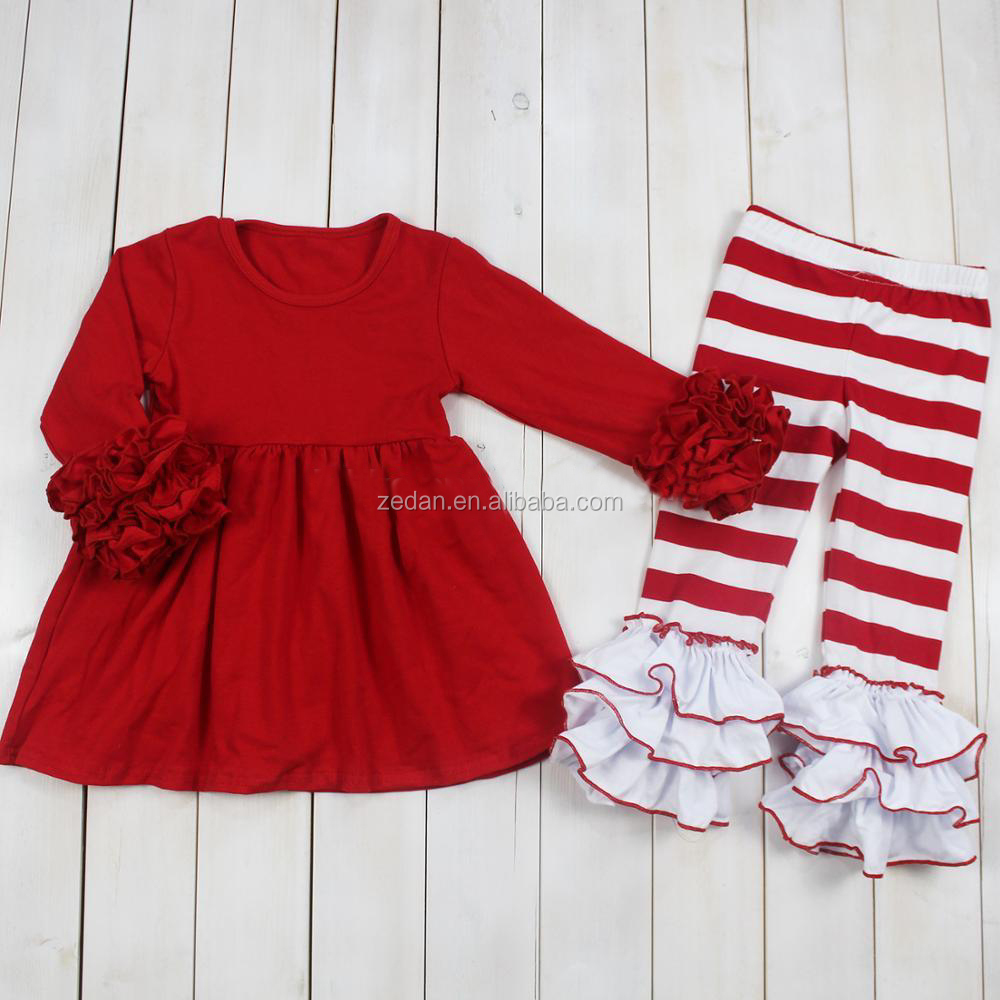 Wholesale new design for girl adorable ruffle plain color long sleeve and red white strape ruffle pants outfit for causal wear
