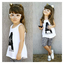 2017 summer new girl suit A letter set print han edition children's clothes