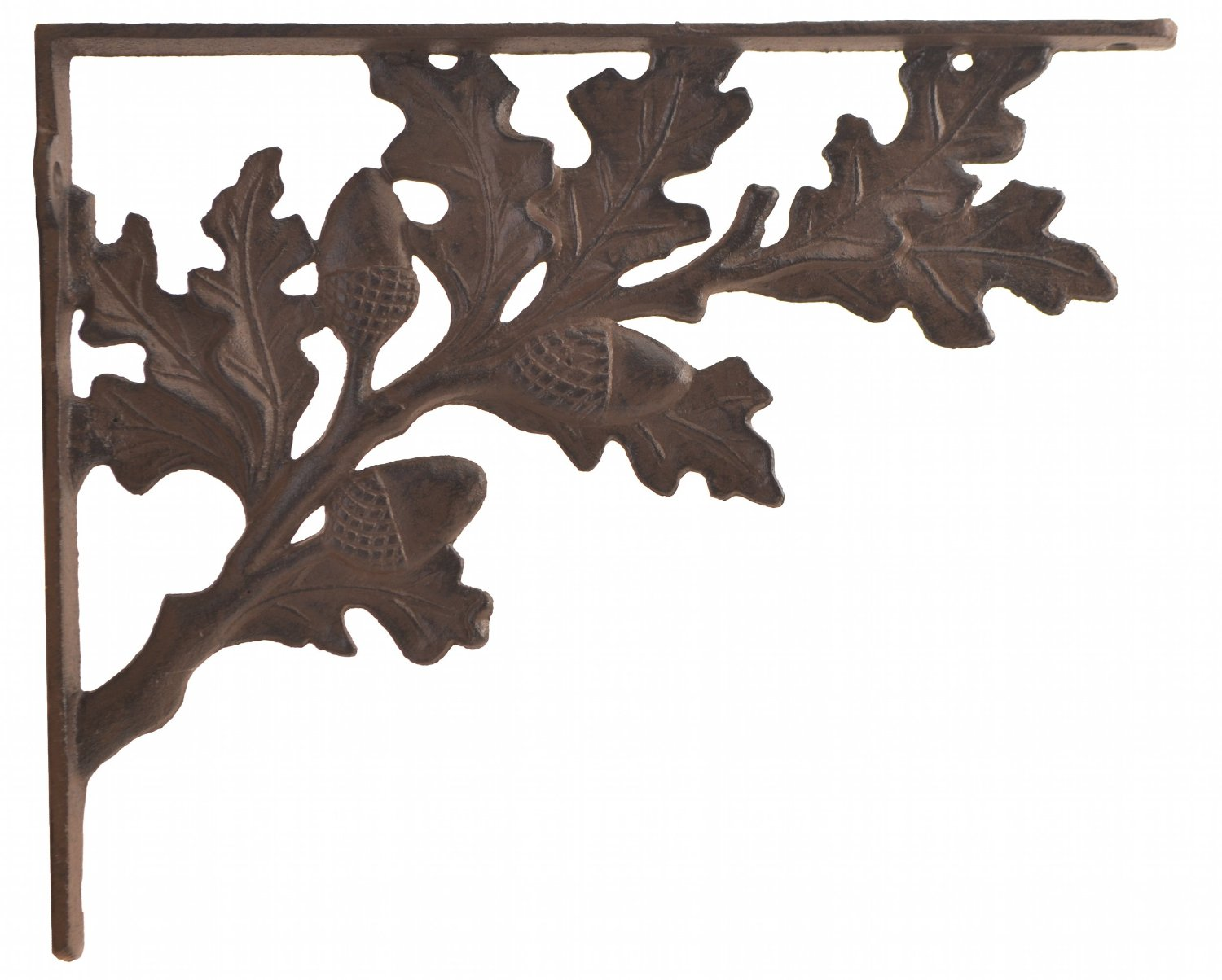 Wall Shelf Bracket - Oak Leaf & Acorn Pattern - Cast Iron - 11.25""
