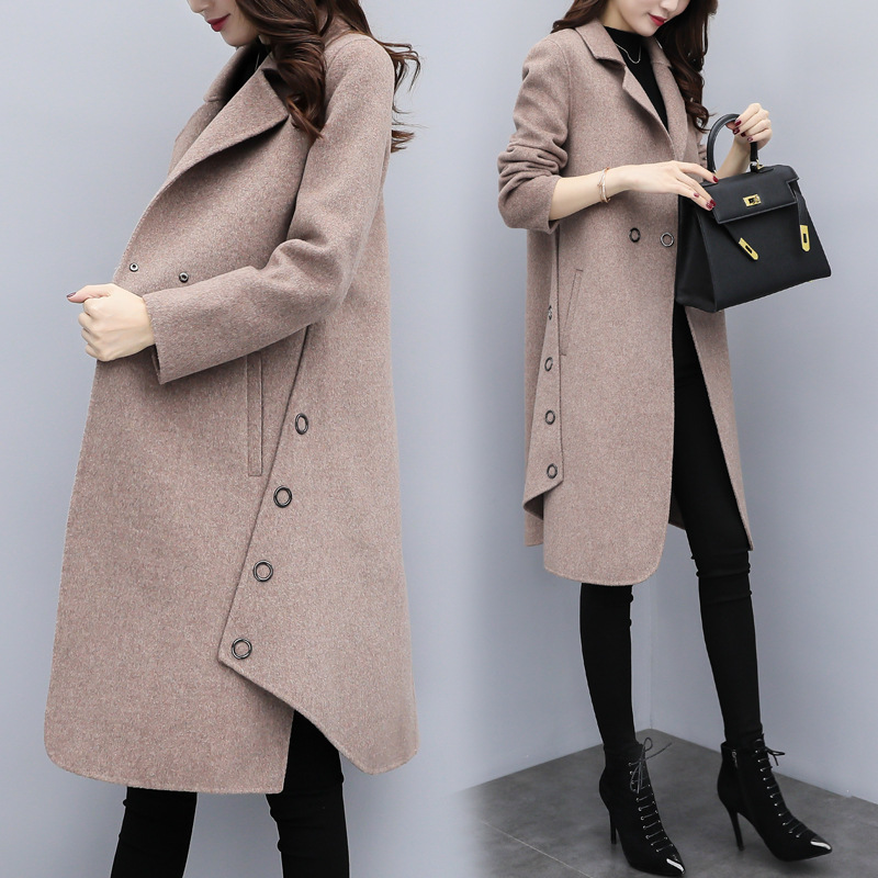 YQ64 Pure Colour Women's Wool Handmade Sweater Design For Girl Imitated Mink Wool Long Cardigan coat