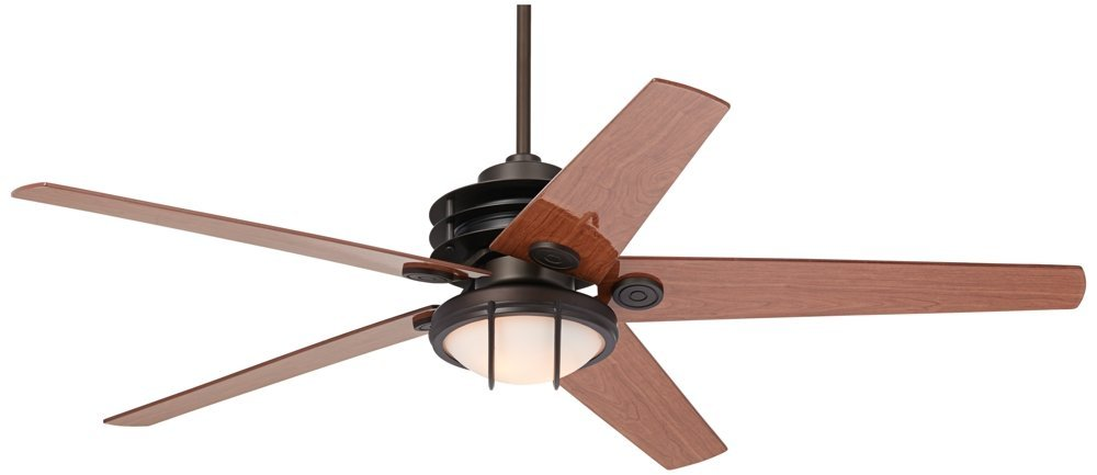 "60"" Casa Venue Frosted White Glass Bronze Damp Ceiling Fan"