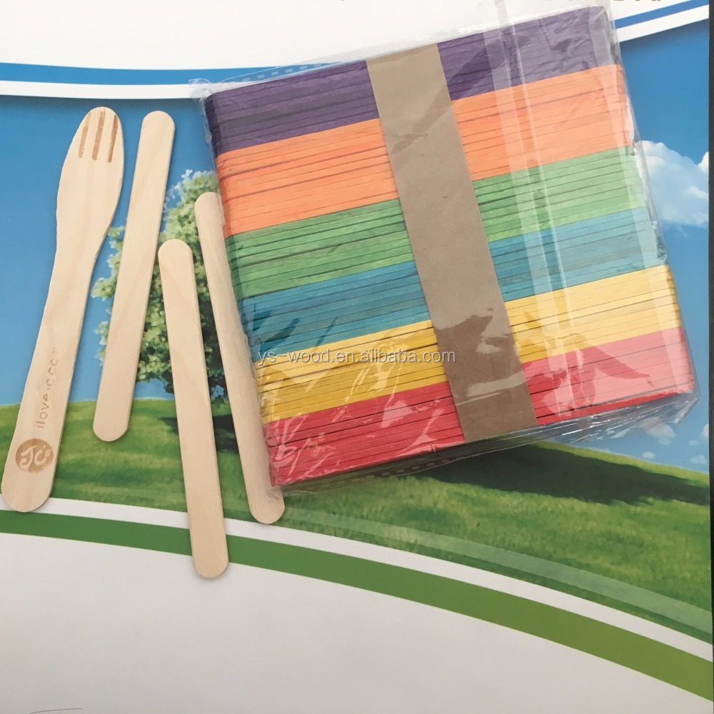 Customized Round Head Disposable Wooden Flat Ice Cream Sticks