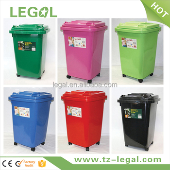 4 Wheel Garbage Trash Bin Pantone Color Recycling With 60Liter