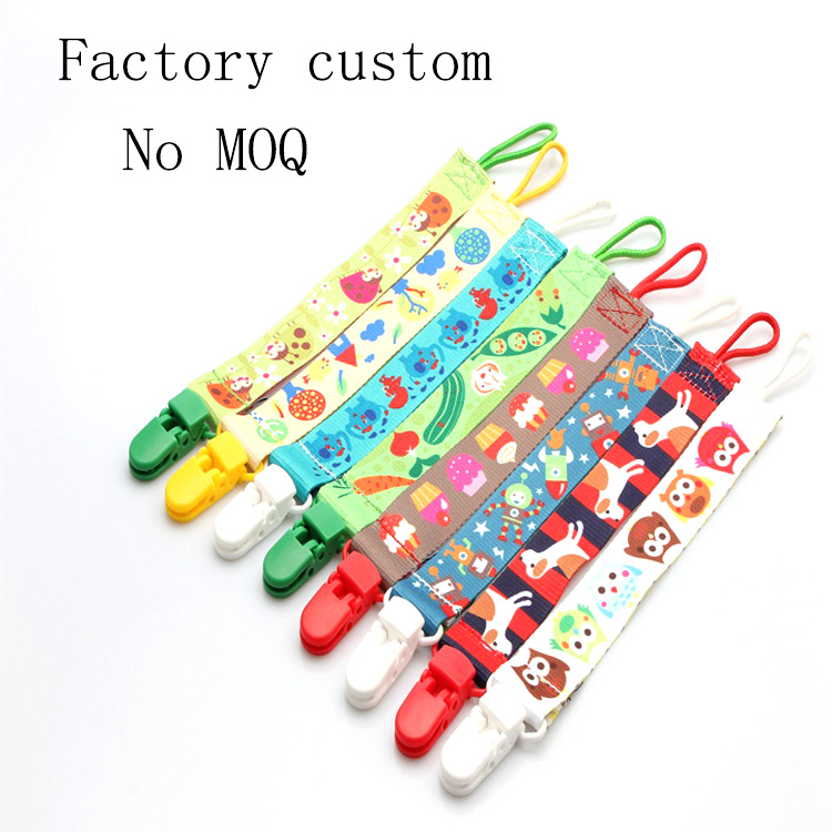 Eco-friendly cute custom printing baby pacifier clip with design and sample free