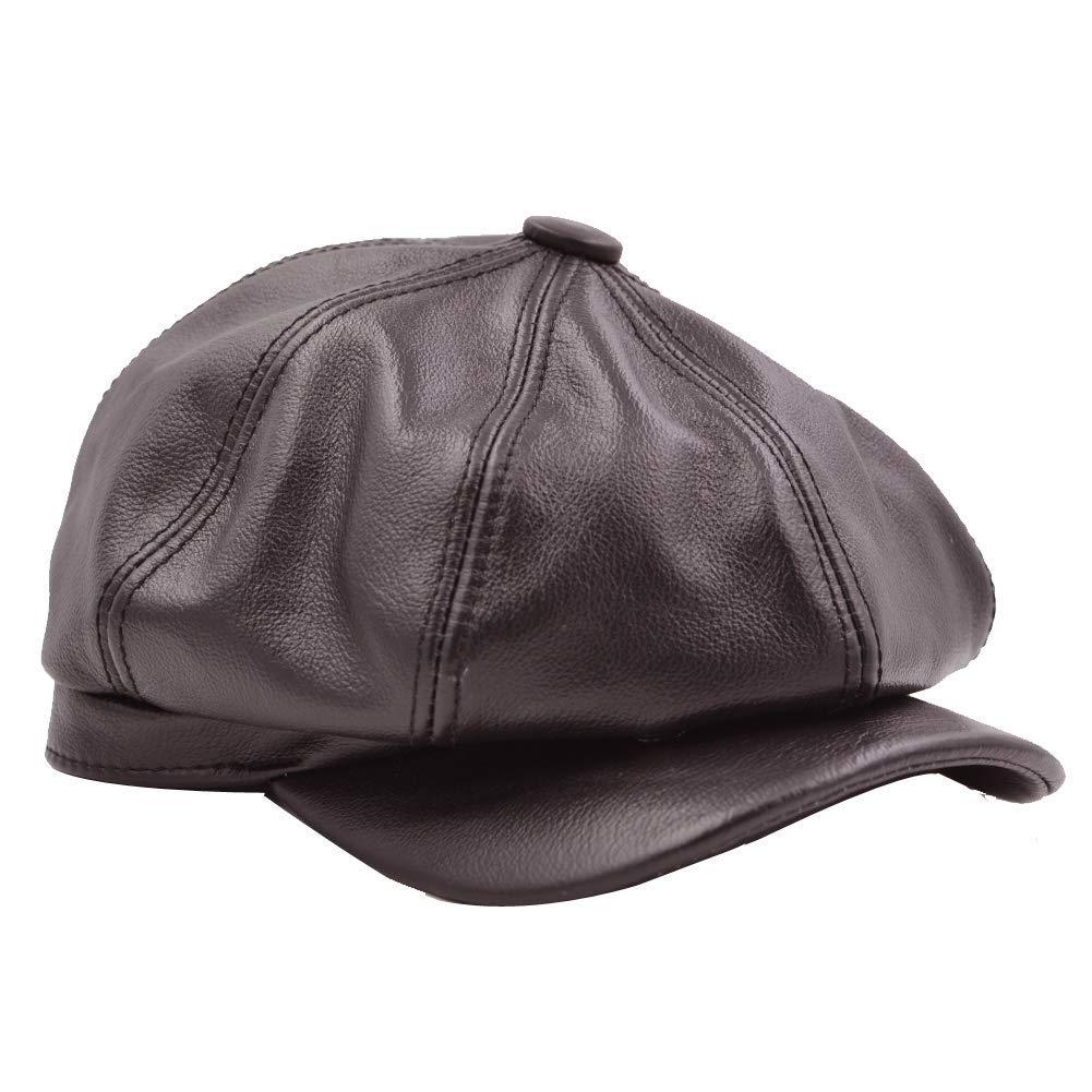 b4649be186028 Get Quotations · Sandy Ting Women s Leather Newsboy Hats Cap Vintage Ivy  Beret Cabbie Cap