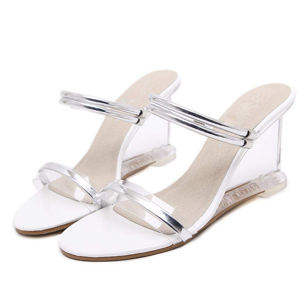 Women Slippers Summer Shoes High Heels PVC Transparent Peep Toe Wedges Sandals Woman Clear Sliver Plus Size Party Shoes