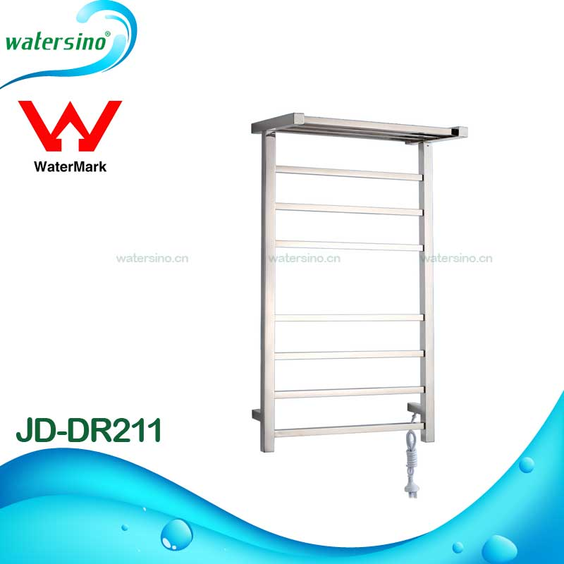 New square design stainless steel brushed electric towel warmer towel rail