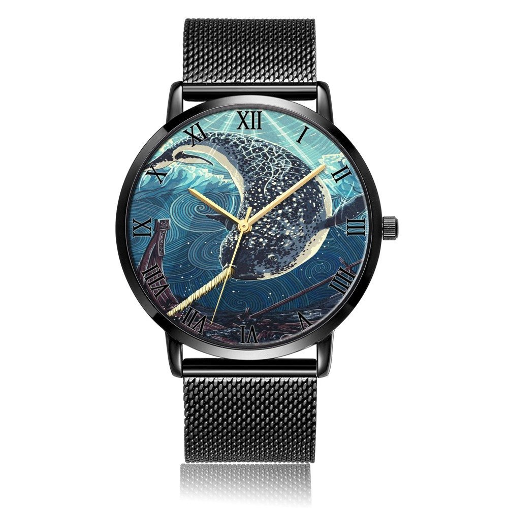 CWdron Customized Wrist Watch, narwhal Pattern Design Analog Quartz Wrist Watch For Women and Men, Durable and Personalized Stainless Steel Wrist Watch