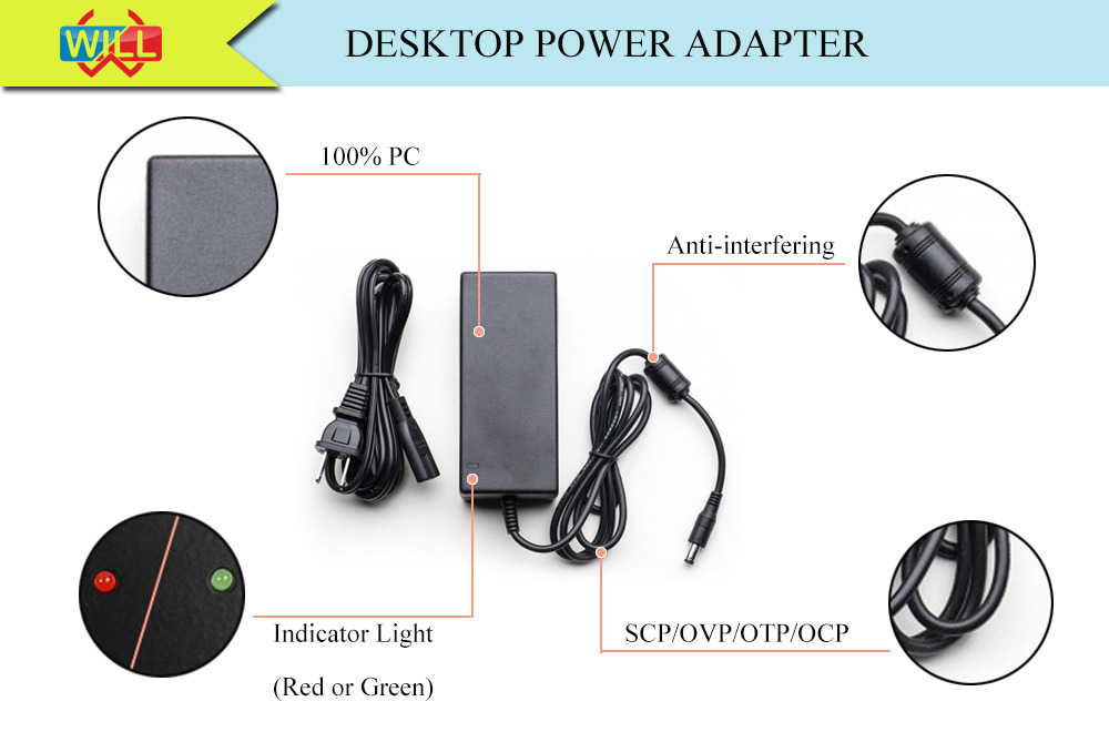 Jenis Desktop AC DC Power Adapter 12V 10A 120W Desktop Power Supply untuk Lampu LED 240 V AC untuk 12V AC Adapter