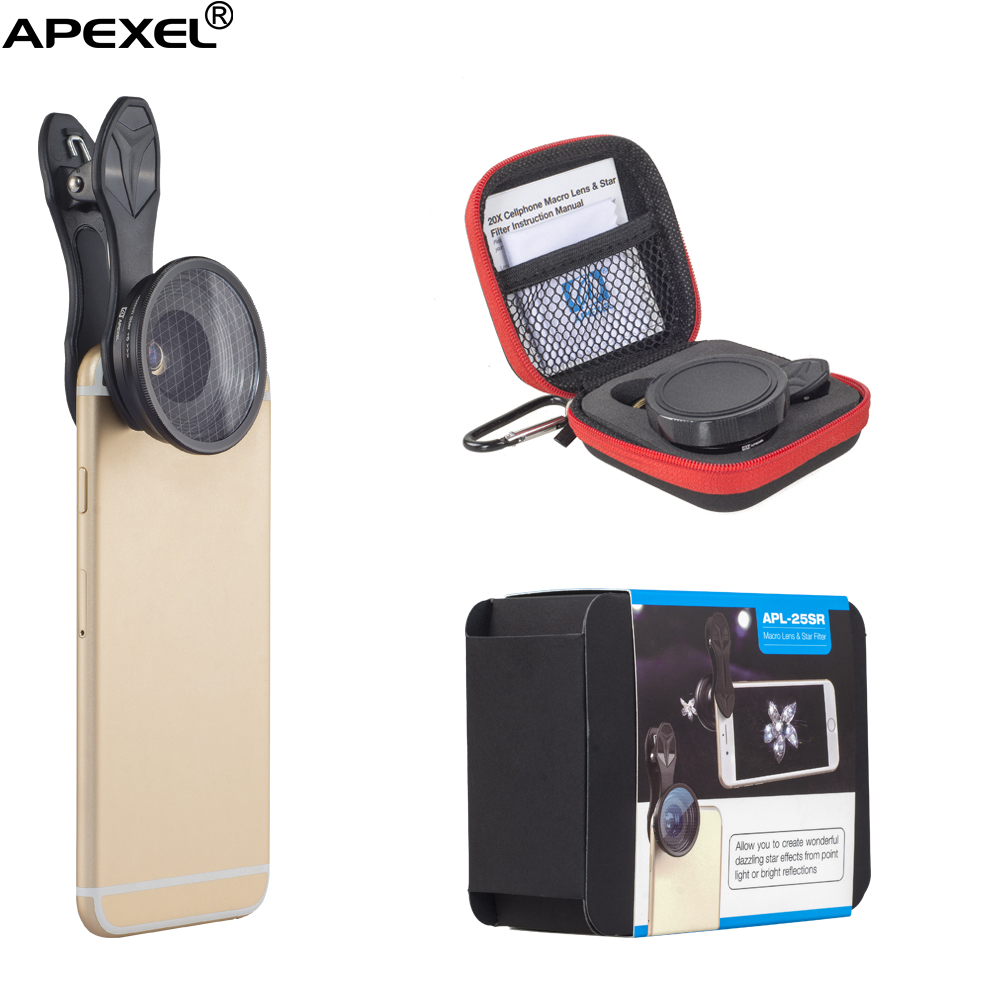 Apexel factory direct mobile lens macro 25mm 20x super macro lens for iPhone