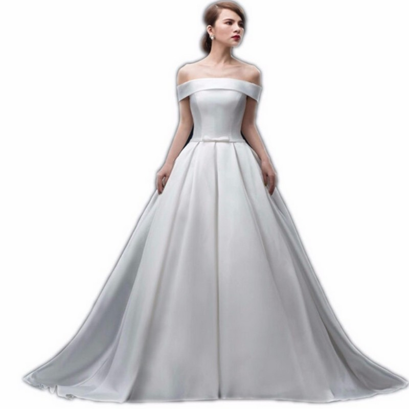 Charming White Boat Neck Empire Wedding Dress Taffeta Bride Dresses Court Train Long Wedding Gowns with Bow New Design