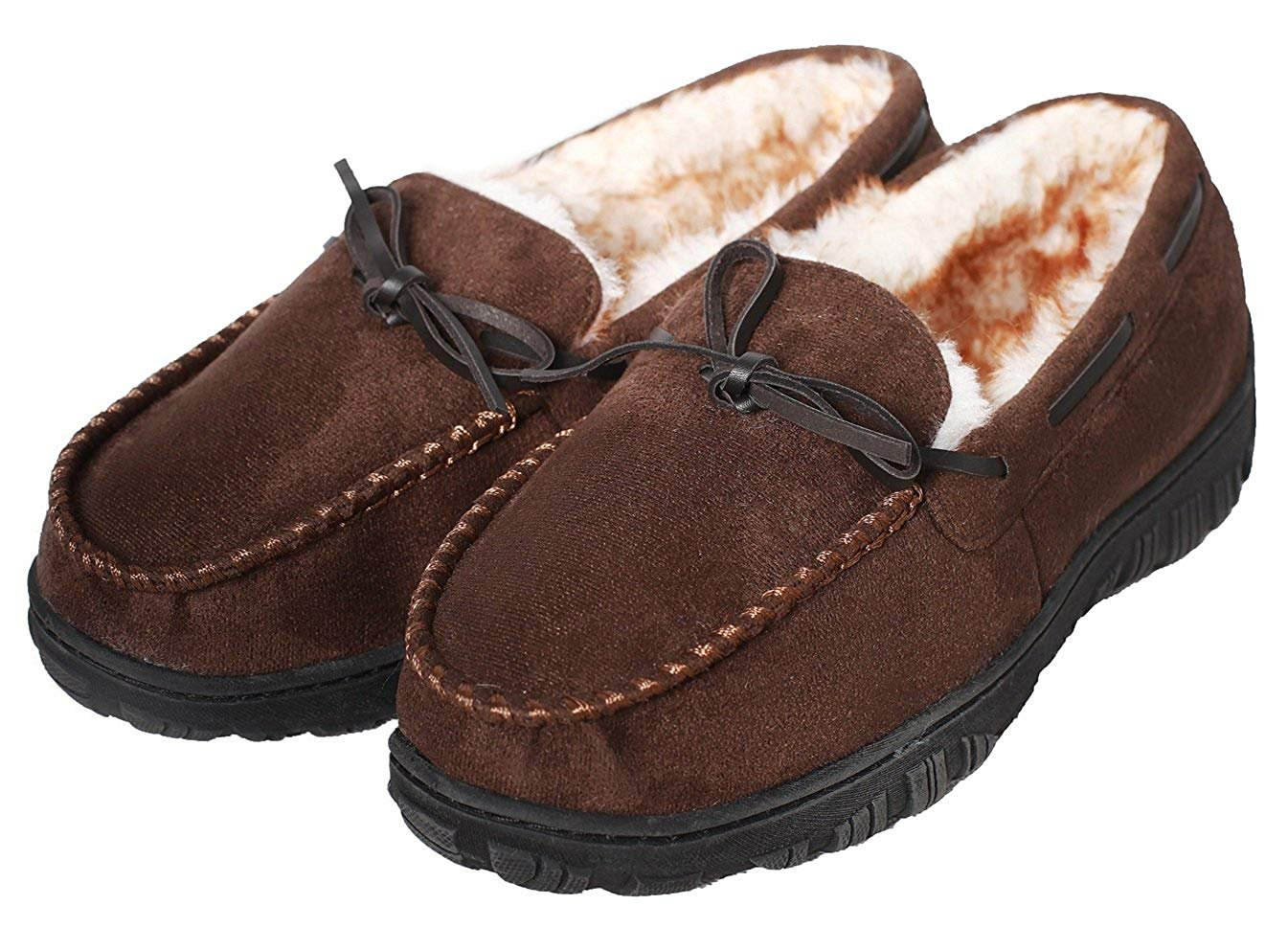 70249f1dd64 Get Quotations · CareBey Men s Winter Comfortable Warm Moccasins Slippers  With Anti Slip Rubber Sole Loafers Shoes