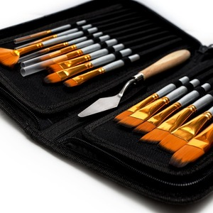 Free Sample Professional Paint Brush Set Of 15 with Painting Knife and Watercolor Sponge for Acrylic, Watercolor, Gouache