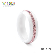 2018 fashions jewelry Chinese factory Ceramic Ring blank ring with pink CZ stone inly