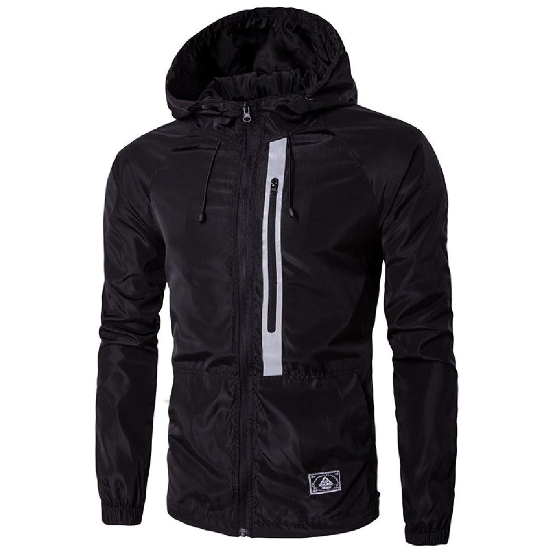 YUNY Men's Windproof Leisure Hood Windbreaker Jacket