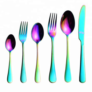Metal Royal Flatware Rose Gold Titanium Coated Stainless Steel Cutlery Set