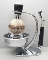Wholesale manly private label pure badger hair shaving brush with shaving bowl and metal display stand