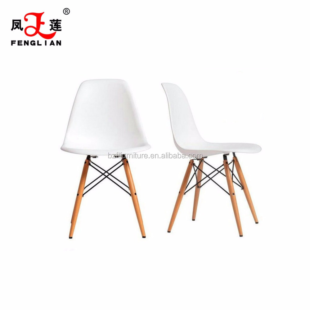 Modern Style Living Room Chairs PP Plastic Emes Eiffel Dining Chair With Beech Wooden Leg