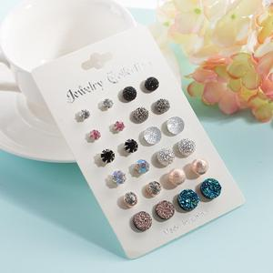 Wholesale Hot Sell Fashion Simple Earrings set Jewelry 12 Pair/Set Stud Earrings Sets For Women