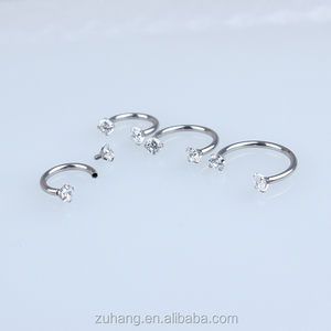 316L Stainless Steel Internally Threaded Horseshoe Ring Circular Barbell with Prong Set CZ Gem Ends