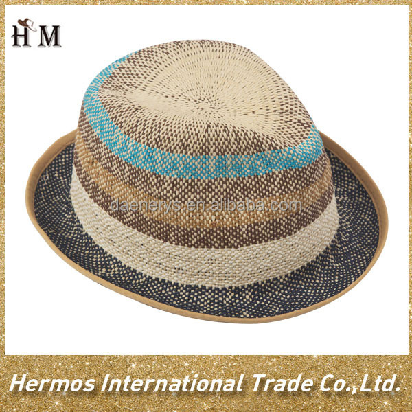 Summer sun outdoor multi color fedora hat wholesale china striped paper straw hat