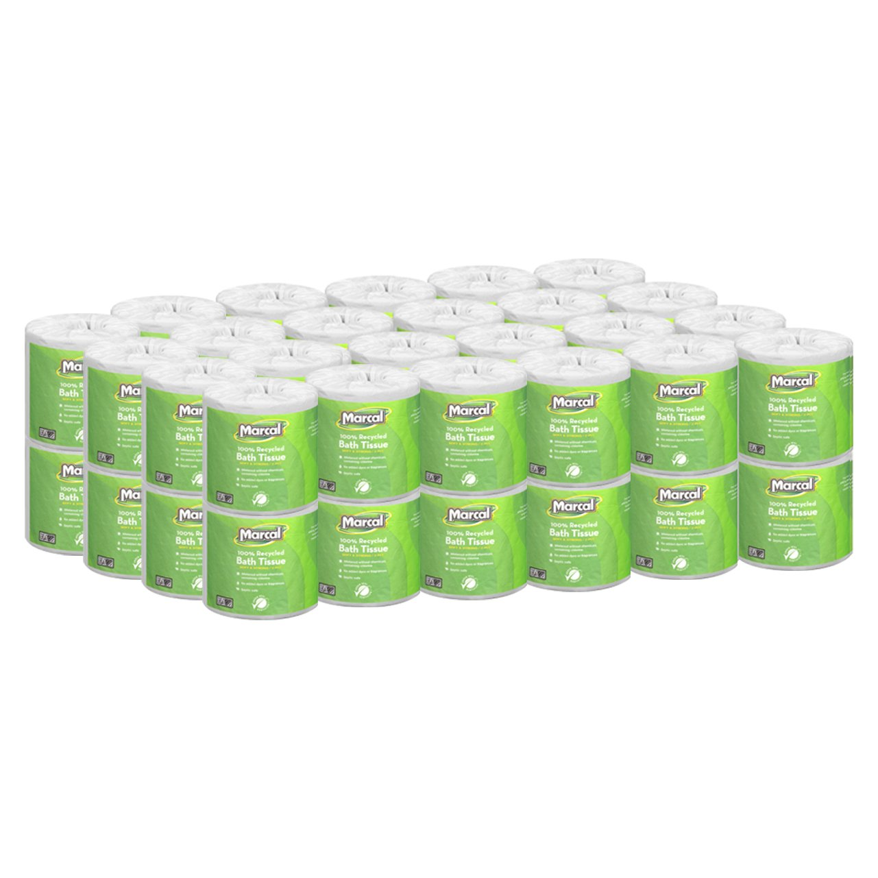 """Marcal Toilet Paper 100% Recycled - 2 Ply, White Bath Tissue, 504 Sheets Per Roll - 48 """"Roll Out"""" Rolls Per Case Green Seal Certified Toilet Paper 06495"""