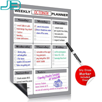 Weekly meal planner and perforated grocery list magnetic shopping refrigerator calendar