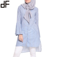 OEM New Arrival Wholesale Muslim Blouse Modest Stripe Style Malaysia Tunic High Quality Islamic Casual Women Wear Tops