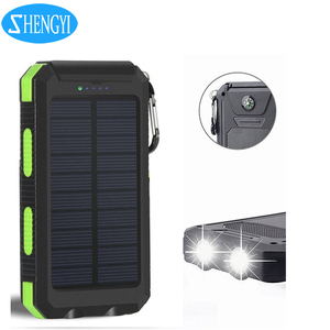 Shengyi Factory wholesale dual usb portable solar power bank with led light charging for phone