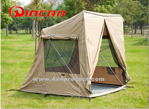 Quick Pitch Tent 4X4 Hunting With Awning Heavy Duty Canvas Fabric Stretch