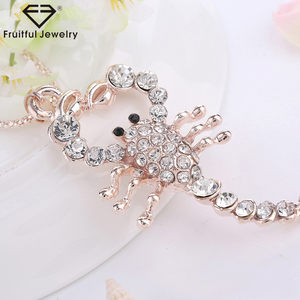 Cartoon Tide section Scorpion pendant rose gold plate chain necklace