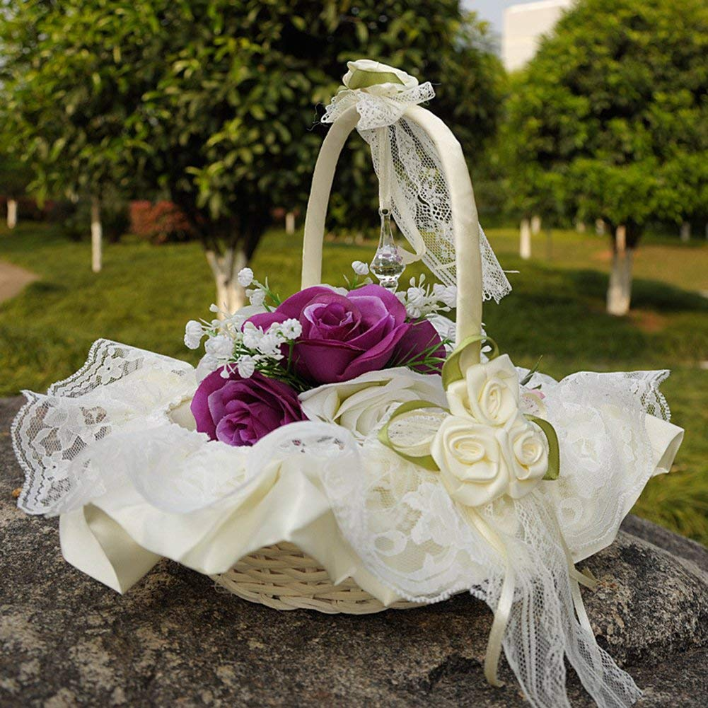 Cheap large flower girl baskets find large flower girl baskets get quotations flower girl baskets the fabric lace decoration cute handle flower girl basket white flower basket for izmirmasajfo