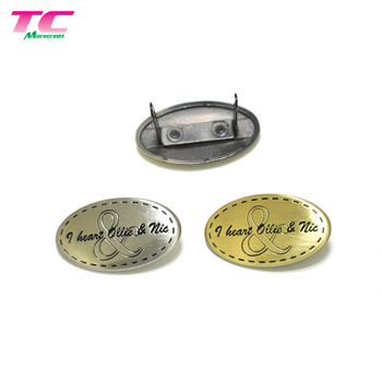 China Factory Metal Brand Logo Label Plate For Handbags