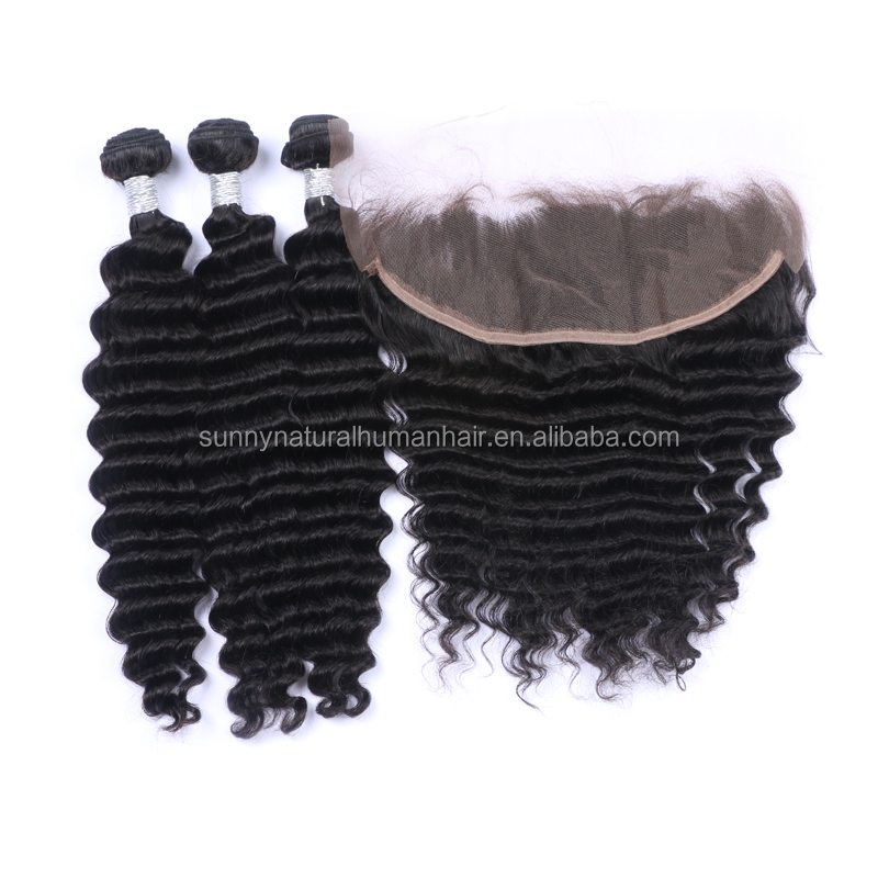 lace frontal closure with bundle deep curly reliable brazilian hair closure deep wave 13*4 lace closure with bundles water wave