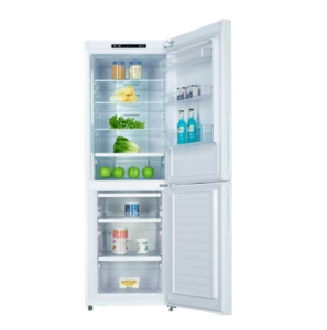298L Household Double Door Frost Free Combi Refrigerator Bottom Freezer Glass Door Fridge With Glass Panel