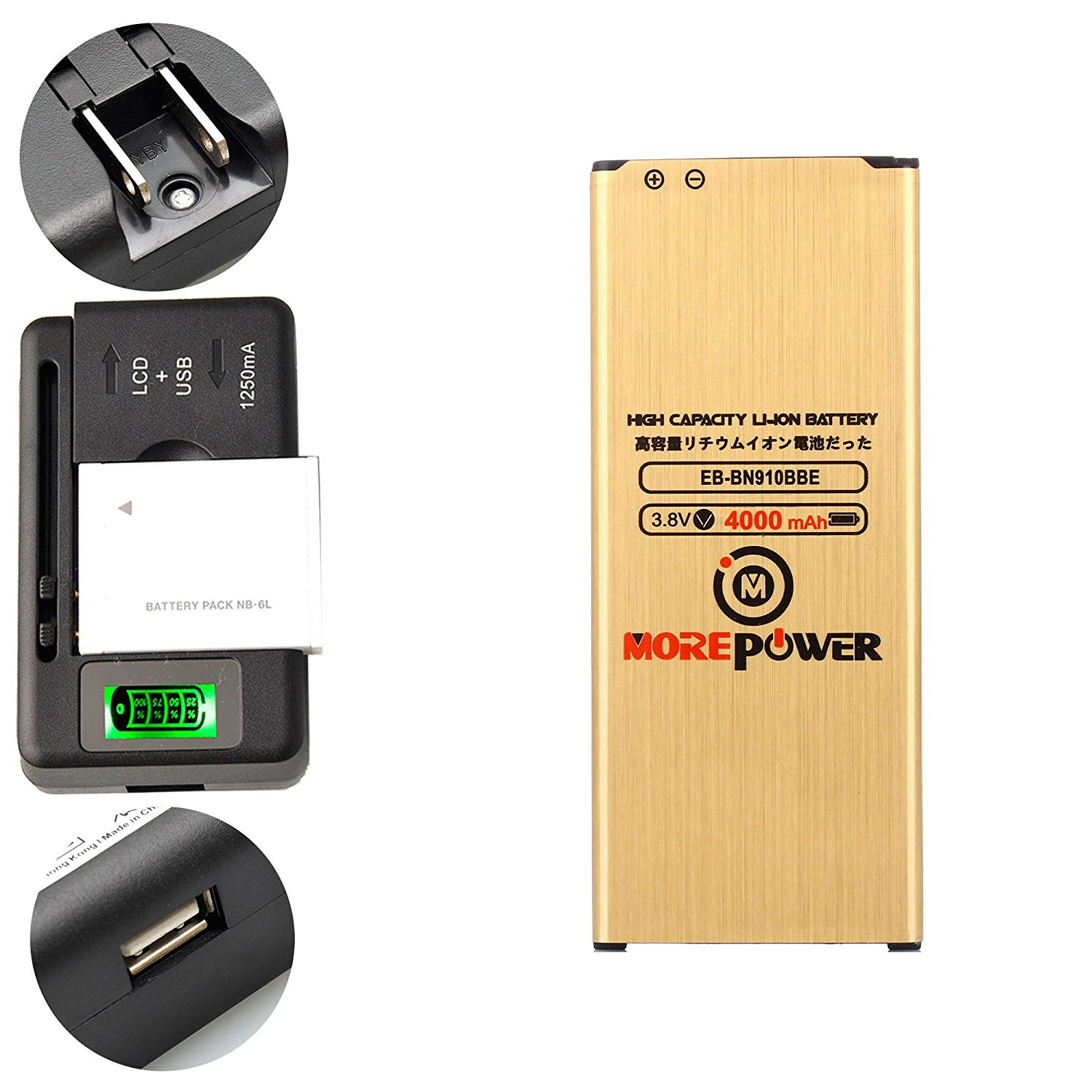 MOREPOWER Samsung Galaxy Note 4 Battery EB-BN910BBE EB-BN910BBU High Capacity & Long Lasting + Universal Battery Charger With LED Indicator 4000 mAh For Samsung Galaxy Note 4 SM-N910A / Samsung Galaxy Note 4 SM-N910T / Samsung Galaxy Note 4 SM-N910P / Samsung Galaxy Note 4 SM-N910R4 / Samsung