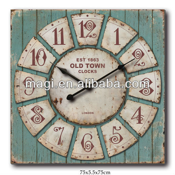 Wooden EST 1863 Old Town Antique Square Wall Clock