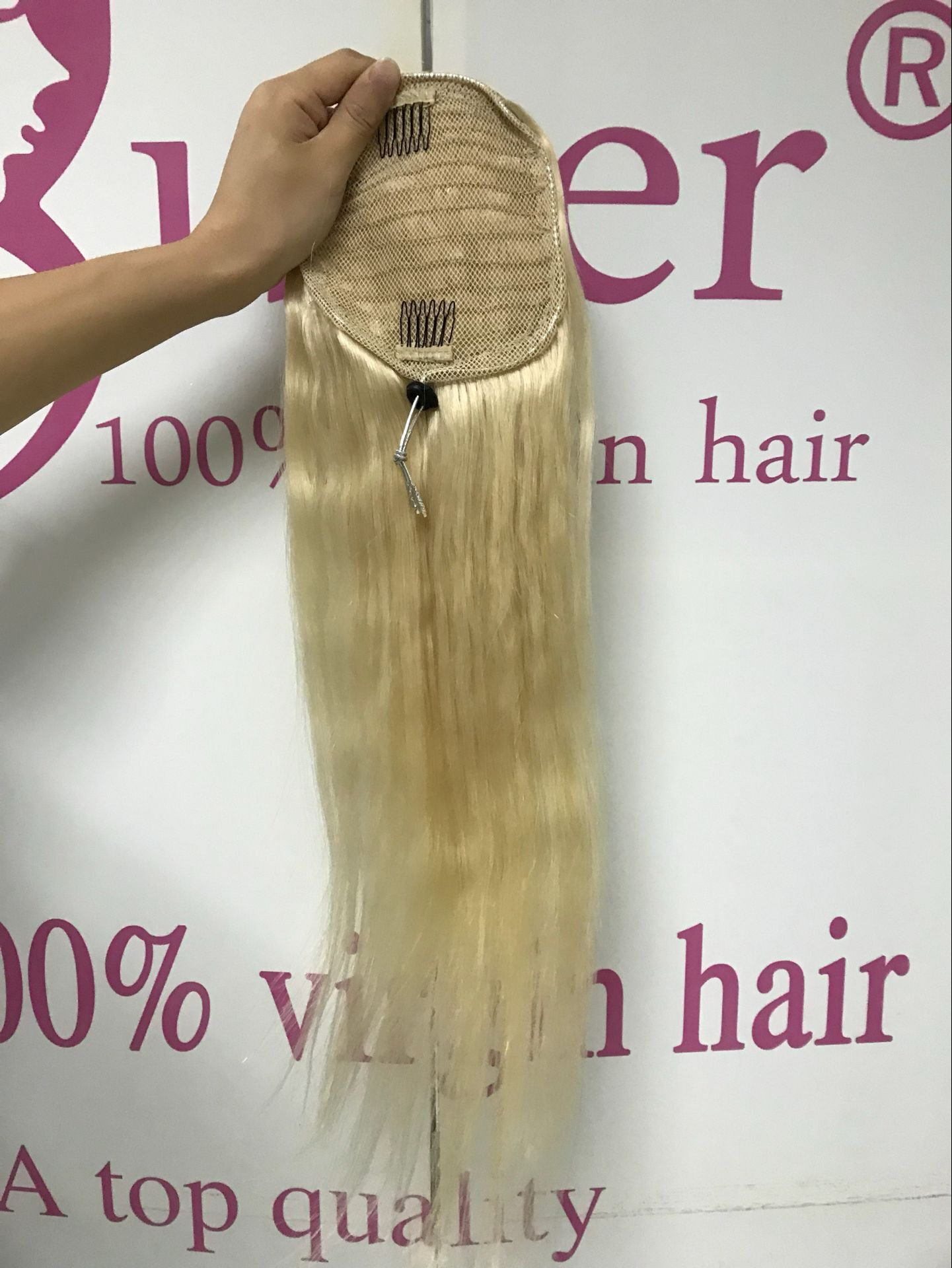 30 Inch Ponytail Extension Human Hair for Black Women Medium Layered Hair Blonde Drawstring Wrap Around