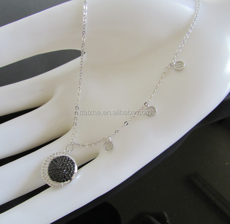 tiny cz dots charms silver chain black cz Choker Necklace