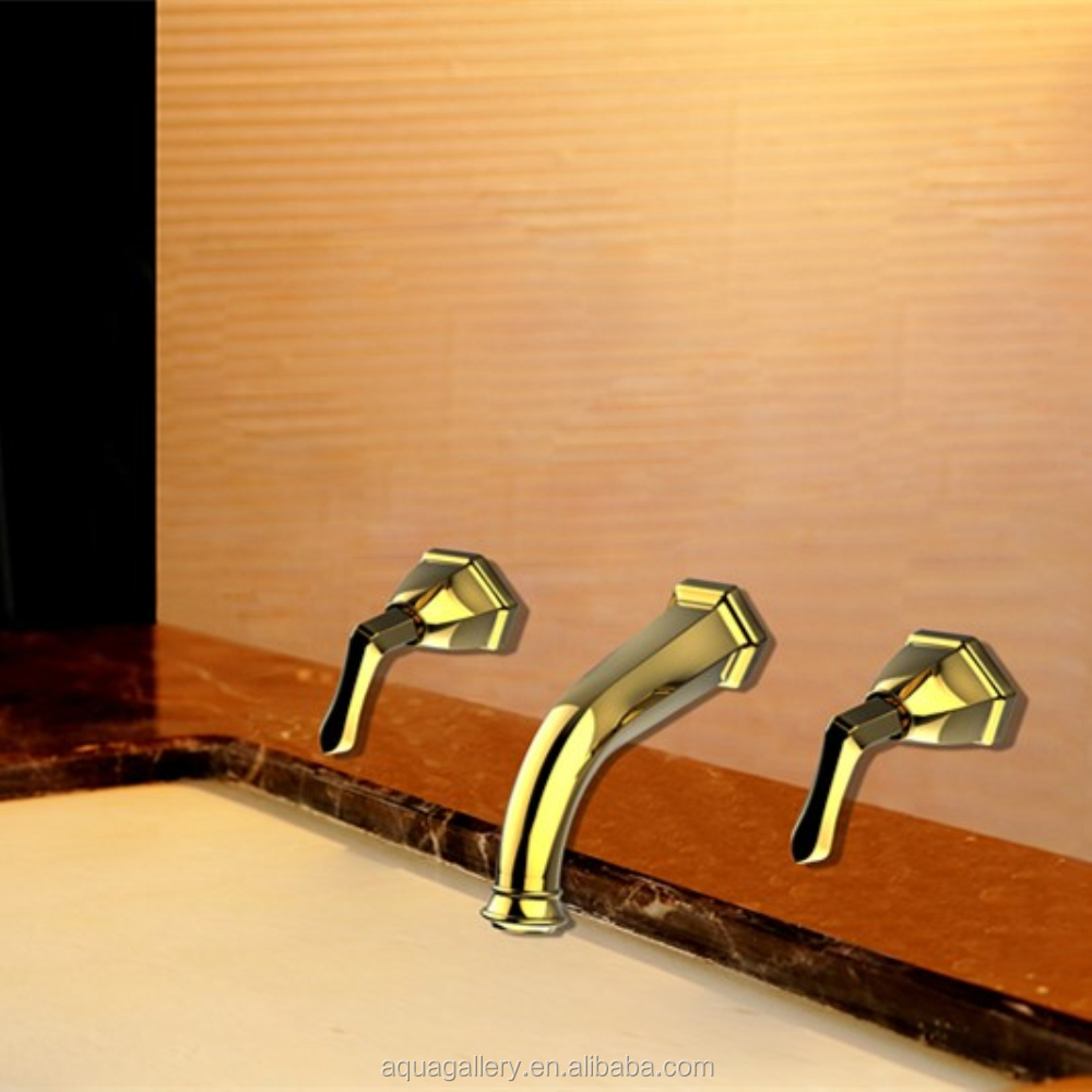 Wall Mounted Dual Handle Golden Basin Tap