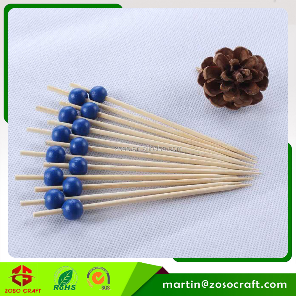 "4.75"" Bamboo Wooden Bead Simply Baked Appetizer Pick"