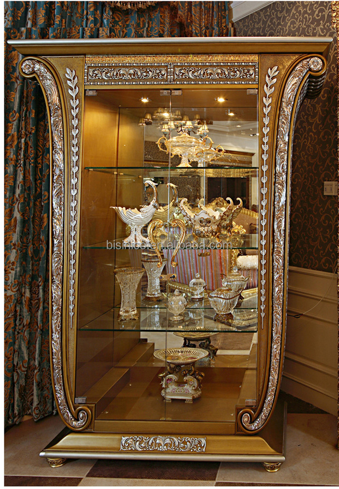 Delightful Luxury French Louis XV Style Golden Single Door Curio Cabinet/ Living Room  Glass Fancy Display