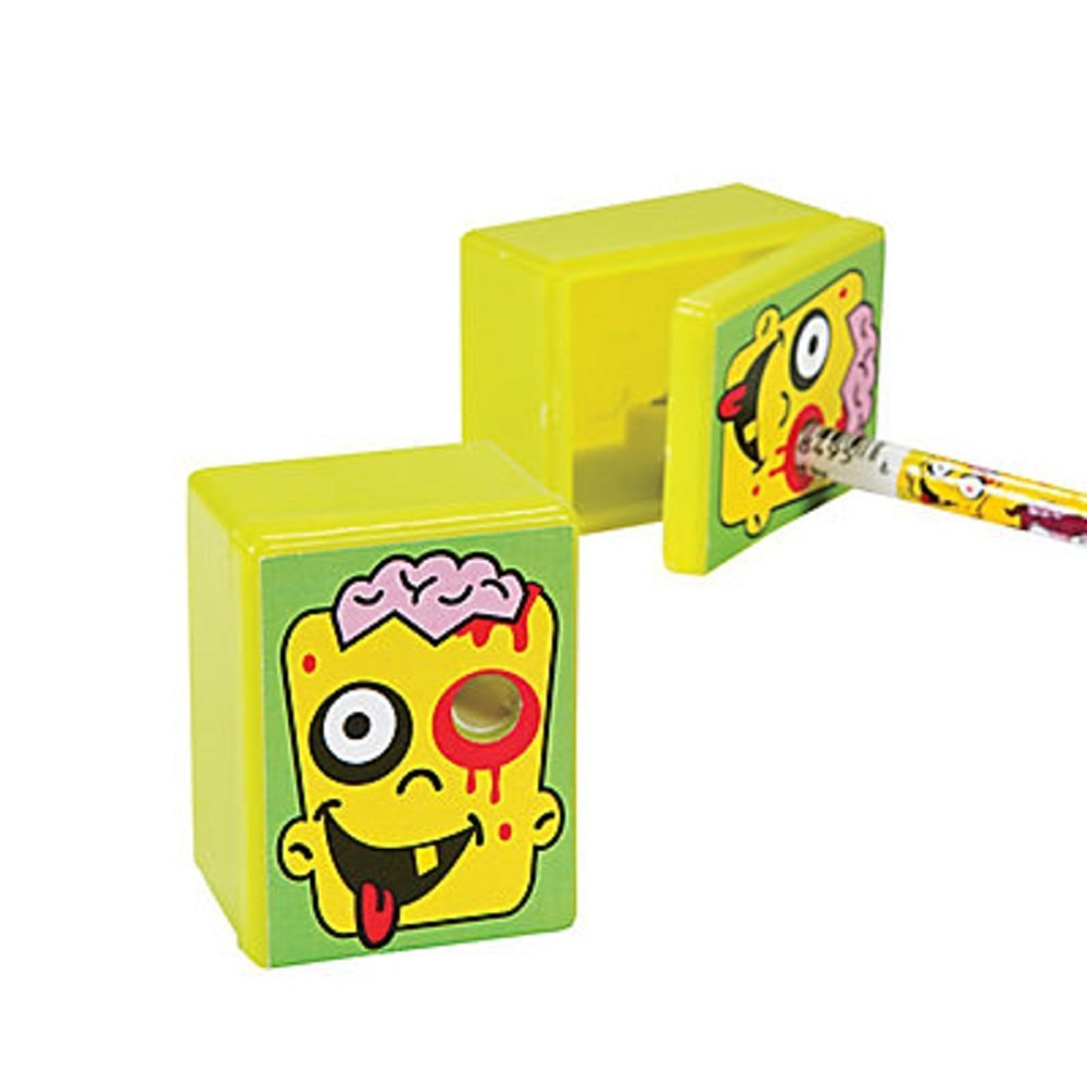 """6 ~ Zombie Pencil Sharpeners ~ Approx. 1 1/2"""" X 2"""" ~ Plastic ~ New"""