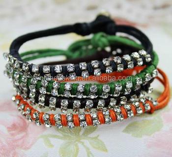 Diy Woven String Bracelets Cotton Cord Braided Bracelet Cheap Friendship Bracelet With Crystal Paved Buy Diy Woven String Bracelets Cotton Cord