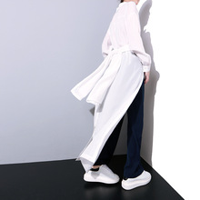 B12600A european style women fashion long split blouse lady loose long blouse