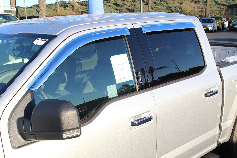 Restyling Factory 2015-2016 Ford F150 Crew Cab Super Crew Triple Chrome Plated 4pcs set Window Visor Wind Deflectors (Chrome)