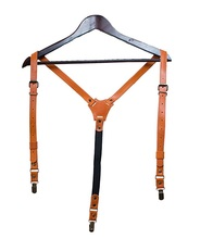 FREE SAMPLE FACTORY PRICE WHOLESALE Y-back Convertible Leather Suspenders Mens Braces