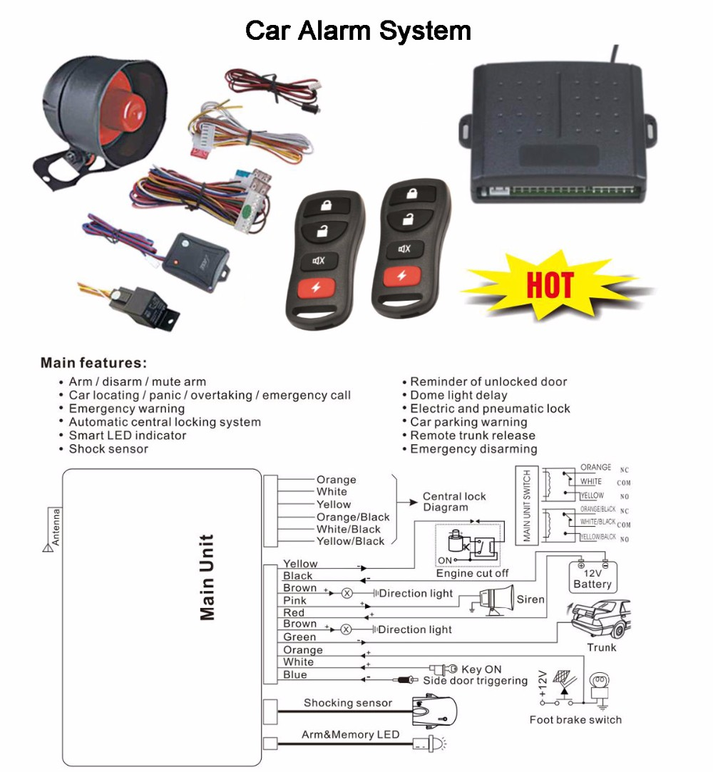 DLS-004 One way car security alarm system alarme de voiture with trunk release function